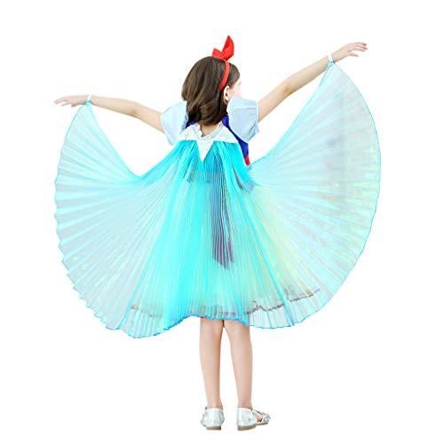 Andouy Kinder Prinzessin Kostüm Phantasie Fee Dressing up Cosplay Schal Cape Umhang für Weihnachten Karneval Party(M.Blau)