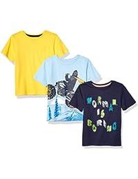 Spotted Zebra 3-Pack Short-Sleeve T-Shirts T-Shirt, Moto Yeti, X-Small (4-5)