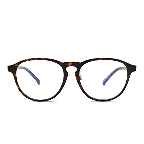 Preisvergleich Produktbild JIM HALO Blaues Licht blockiert Rund Lesebrille, Augenbelastung reduzieren Anti-Glanz klar Linse Video Brillen Damen Herren(Schildkröte/klar)