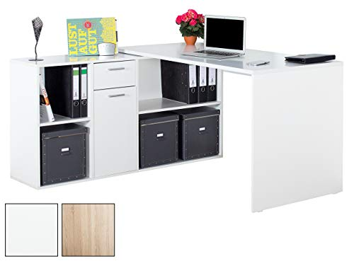 RICOO Winkelkombination Schreibtisch Weiss Arbeitstisch Computer Tische WM081-W Office Table Bürotisch Computertisch Gaming Eckschreibtisch Regal Schubladen Organizer Akten Schrank Holz Lowboard