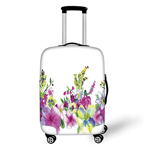 Travel Luggage Cover Suitcase Protector,Watercolor Flower House Decor,Hybrid Garden Floret Composition with Heathers and Stocks Art,Pink Green,for Travel - Hybrid Duffle
