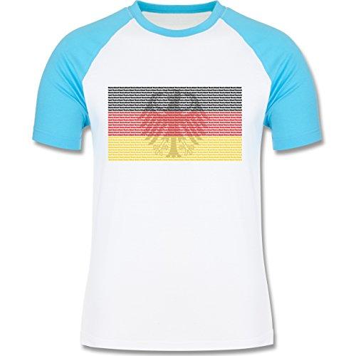 EM 2016 - Frankreich - Deutschland Flagge Schrift - zweifarbiges Baseballshirt für Männer Weiß/Türkis