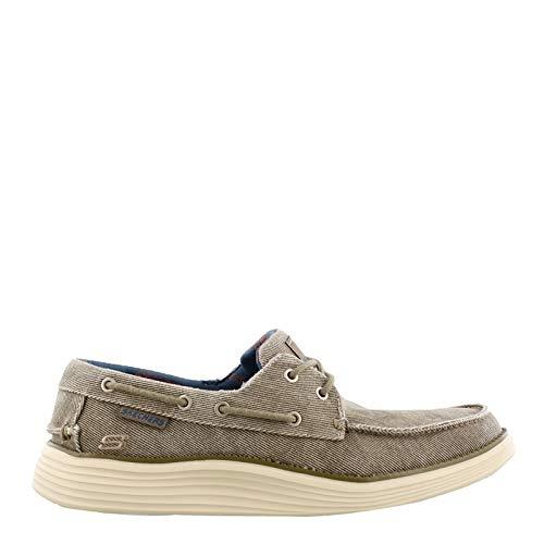 Skechers Status 2.0 - Lorano Moc Toe Canvas Deck Schuh Oxford, Braun (Taupe), 47 EU Boot Mocs Mocs
