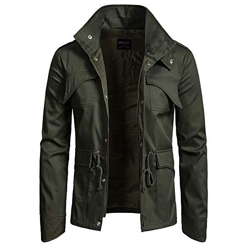 ZIYOU Herren Basic Jacke, Männer Outwear Stehkragen Slim fit Militär Jacke mit Reißverschluss Freizeit Übergangs Mäntel (EU-48 / CN-L,Armeegrün) -