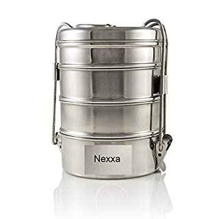 Nexxa 4-Tier Stainless Steel Indian Tiffin Lunch Box (medium), School, office use