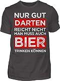 Kreisligahelden T-Shirt Herren Gut Darten reicht Nicht - Kurzarm Shirt Baumwolle mit Spruch Aufdruck - Hobby Freizeit Fun Dart Darts 180 (XL, Anthrazit)