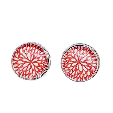 Miniblings Blumenmuster rot Ohrstecker Ohrringe Blumen Blume Sommer Cabochon – Handmade Modeschmuck I Ohrhänger…