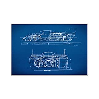 ArtsyCanvas Sports Car 1 Gearhead Blueprint Art (24x16 Poster), 24