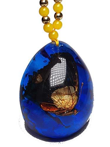 Blauer Bernstein-Anhänger mit Schmetterling, Insekt in Bernstein, mit Halskette