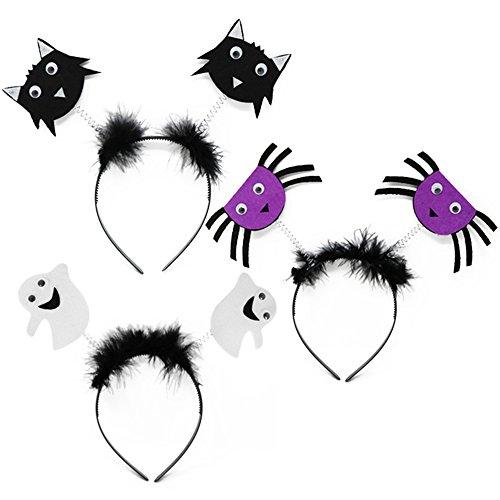 Com-four® 3x halloween hair-ready, accessori costume per bambini per halloween, carnevale e altre feste, 23 x 21 cm (03 pezzi - mescolare)