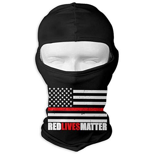Jxrodekz Rote Leben-Angelegenheits-Feuerwehrmann-Flagge 3D, die Wind-volle Gesichtsmaske für das Ski-Wandern radfährt