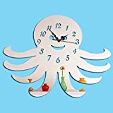 Oudan personalità Octopus Creative Mirror Wall Clock Fai da Te Living Room Divano Sfondo Stereo Wall Sticker Orologio, MirrorGold (Colore : Mirrorsilver)