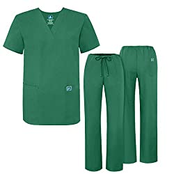 Adar Medical Uniforms Mens Drawstring Hospital Nurse Scrub Set - Roomy Fit - 701_m - Forest Green - S