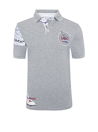 T219 - NEBULUS POLO-SHIRT DEEP-BLUE, Polo, T-Shirt, Hemd Herren grau