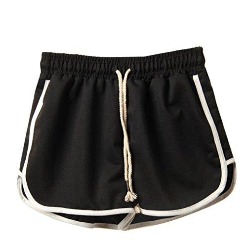 BakeLIN Sport Kurze Hose Lose Strand Hot Pants (Schwarz Grau Marine Weiß, S~XXXL) (M, Schwarz) ()