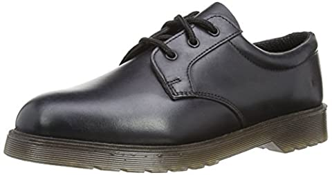 Mens Grafters Uniform Black Leather Air Cushioned Sole Work Shoes Heat Oil Petrol Resistant Soles Size 9