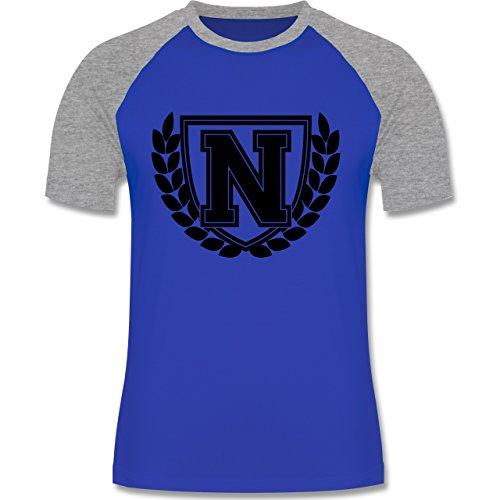 Anfangsbuchstaben - N Collegestyle - zweifarbiges Baseballshirt für Männer Royalblau/Grau meliert