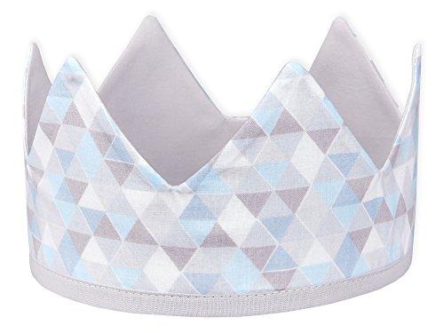 KraftKids Stoffkrone Unigrau kleine Dreiecke blau grau weiß, stylische Geburtstags-Krone für Kinder mit Klettverschluss, beidseitig mit Muster verziert -