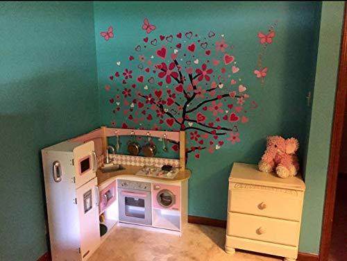 ElecMotive Riesige Herz Baum Schmetterling Abnehmbare Wandaufkleber Wandtattoo Wandsticker Aufkleber DIY für Wohnzimmer Schlafzimmer Kinderzimmer mit Geschenkkarton - 4