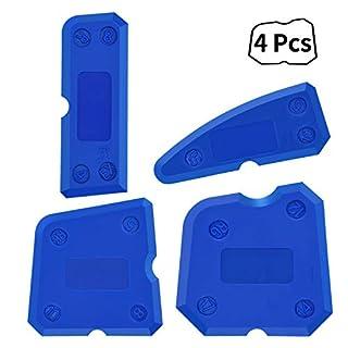 Sealant Finishing Tool,XCOZU 4 Piece Portable Blue Silicone Former Sealant Caulking Tool Kit,Multi-Edge Silicone Sealant Applicator Tool Smoother Mastic Tool Suitable for Kitchens,Bathrooms,etc.