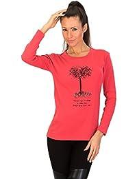 Womens Tshirt FLOWER rouge à manches longues autour du cou par GEAR