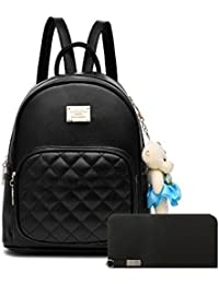 Alice Leather Students School Backpack Bags And Clutch Combo For Girls (Black)