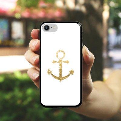 Apple iPhone 7 Hülle Case Handyhülle Anker Gold Sommer Hard Case schwarz
