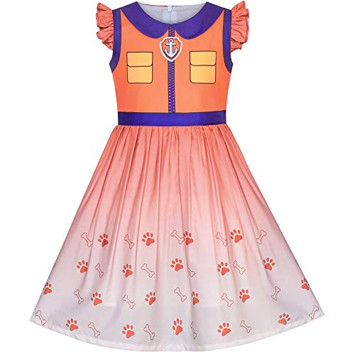 Sunny-fashion Mädchen Kleid Paw Patrol Marshall Kostüm Halloween -