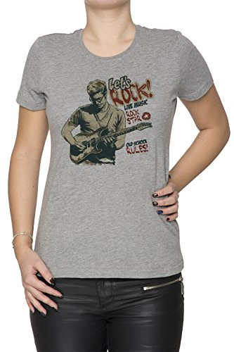 Lets Rock Donna T-shirt Grigio Cotone Girocollo Maniche Corte Grey Women's T-shirt