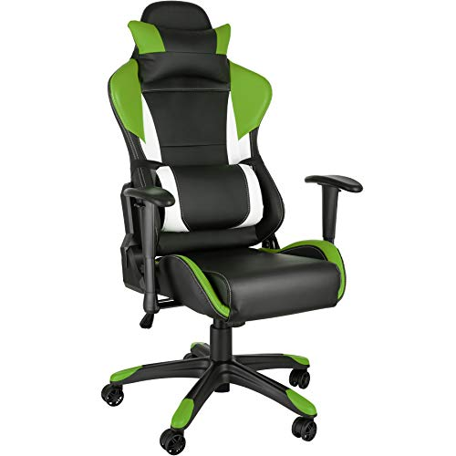 TecTake Racing Bürostuhl mit Armlehnen inkl. Lordosenstütze und Nackenkissen Sportsitz Gaming Stuhl ergonomisch - Diverse Farben - (schwarz-grün-weiß | Nr. 402291)