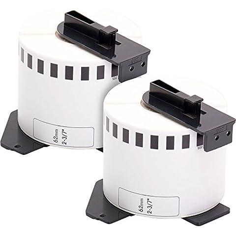 2x Etiquetas, compatibles con dirección Brother DK44205 62mm x 30,5m etiquetas bobina soporte papel