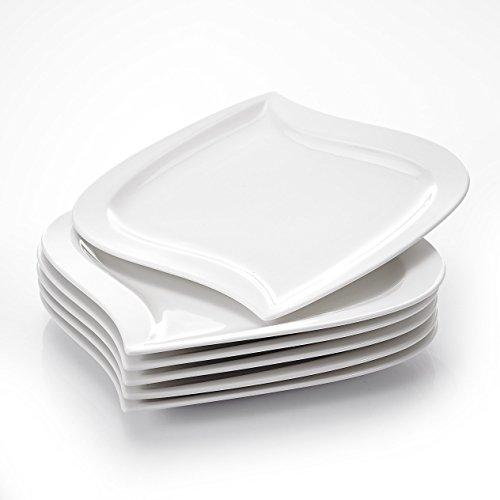 MALACASA, Serie Elvira, 6 teilig Set Cremeweiß Porzellan Flachteller Speiseteller Essteller 10,75 Zoll / 27,5x26,5x2,5 cm für 6 Personen