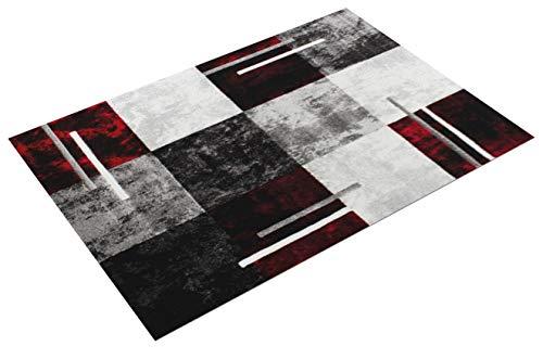 Paco Home Alfombra Moderna De Diseño Perfilado - A Cuadros En Gris Negro Rojo, tamaño:160x230 cm