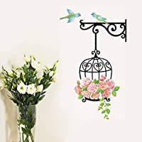 TCCSR Wall Stickers Cute Birdcage Birds Rose Flower Vines Wall Stickers Vinyl Decal Kids Nursery Home Decoration Art Wall Sticker