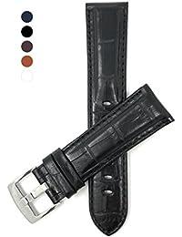 Extra Largo (XL) 20mm Correa reloj de cuero auténtico, Negro, acabado brillante, Aligator grano, hebilla de acero inoxidable, también disponible en blanco, marrón, azul real, et marrón rojizo