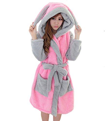 ex-Weiche Fleece-Cartoon-Bademäntel mit Kapuze Nachtwäsche Bademäntel Housecoat Kleider mit Gürtel Rosa Kaninchen Groß (Cartoon-paare Kostüme)