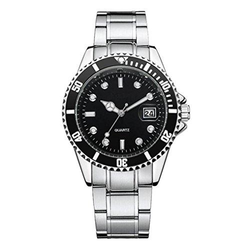 Reloj deportivo de pulsera, de cuarzo, relojes para hombre, diseño de 2018de lujo clásico, simple e informal, relojes cómodos, de acero inoxidable, pulsera impermeable informal, de cuarzo analógico, reloj de pulsera para vestir, negro, Watch