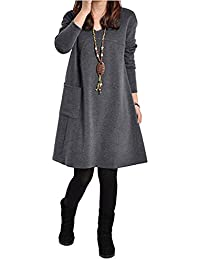 Romacci Autumn Winter Women Dress Plus Size Long Sleeves Pockets Solid V Neck Loose Dress