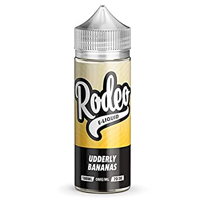 100ml Udderly Bananas E Liquid 70/30 Vape Juice E-Liquid Sub Ohm Juice Vape Liquid Shisha 0mg Flavoured eJuice E Cigarette Liquid No Nicotine 120ml Bottle Short Fill Shortfill (Rodeo E Liquid) from Rodeo E-Liquid