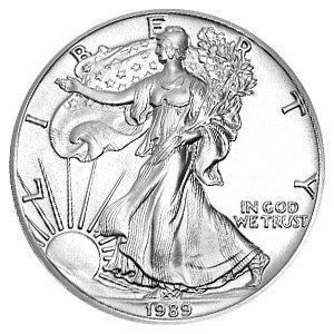 1989 American Silver Eagle Dollar - 1 oz. .999 Pure Silver - Choice Brilliant Uncirculated by U.S. Mint (1989 Eagle American)
