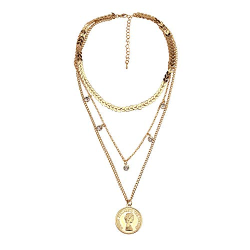 TLLAMG Collares Collar De Cadena De Múltiples Capas para Mujer Virgen María Maria Colgante De Cristal Medalla Milagrosa Color Dorado Moda Religión Joyería