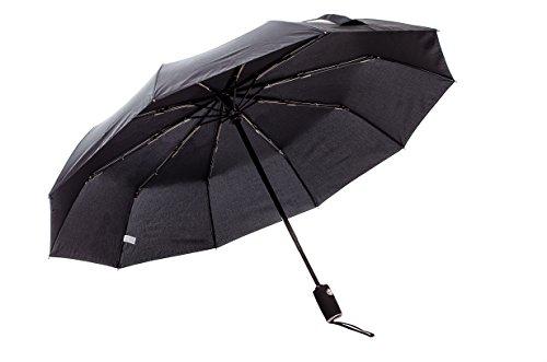 Berger Outdoor Regenschirm - robust, windsicher und sturmfest, windfester Taschenschirm mit Auf-Zu-Automatik (Schwarz)