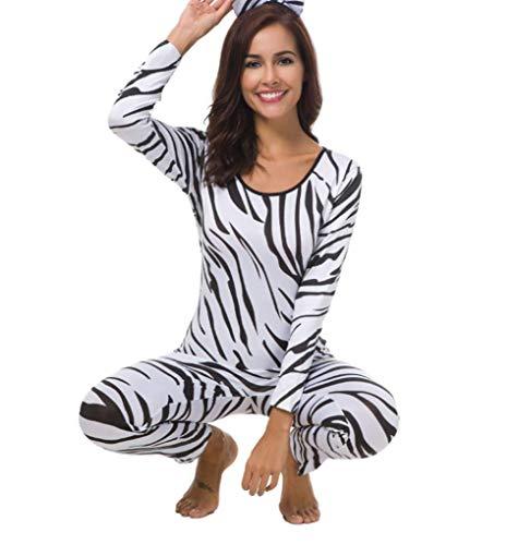 Duuozy Frauen Halloween Zebra Print Overall Catsuit Cosplay Nachtclub Kostüm,L