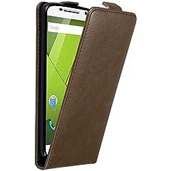 Cadorabo Coque pour Motorola Moto X Play en Marron CAFÉ – Housse Protection en Style Flip avec Fermoire Magnétique – Etui Poche Folio Case Cover