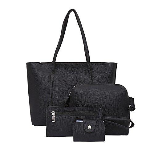 LHWY Damen Umhängetaschen 4 stücke Frauen Handtasche Umhängetaschen Vier Stücke Tote Bag Crossbody Wallet Card Holder (Black) -