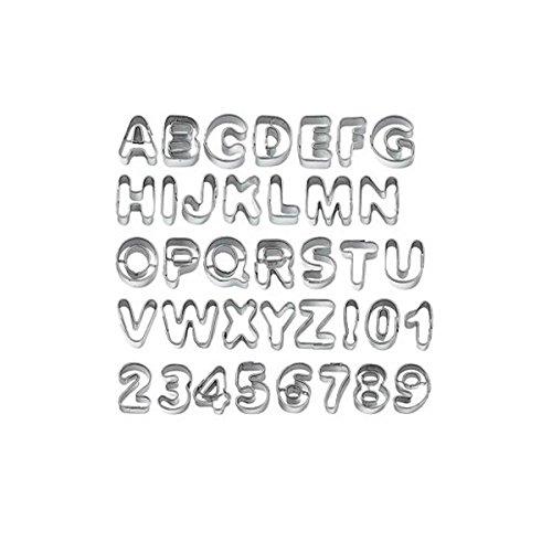 Kuchenform-Tinksky Alphabet Buchstaben Biscuit Cookie Cutter Plätzchenformen Keks Ausstechformen - 37 Stück