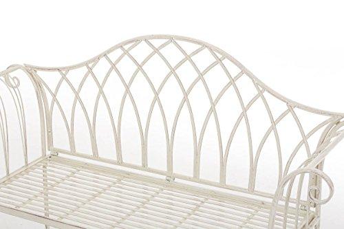 nostalgische Metall-Gartenbank aus Eisen stabil und robust, Farbe Antik creme – Landhaus Sitzbank wetterfest für Garten, Terrasse und Balkon - 5