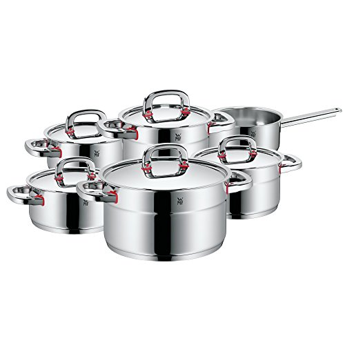 WMF Pot Set 6-Piece Premium One Inside Scale Steam Vent Made in Germany Cool+ Technology Metal Lid Cromargan® Stainless Steel Polished Suitable for Induction Hobs Dishwasher-Safe
