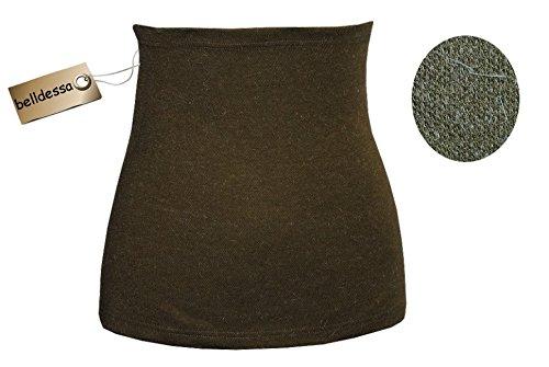 3 in 1 : Angora Wolle - Stretch - Nierenwärmer / Shirt Verlängerer / Bauchwärmer / Accessoire - Mann L - oliv grün uni