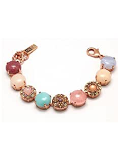 Amaro Jewelry Studio 'Butterfly' Collection Bracelet Garnished with Faux Mother of Pearl, Abalone, Aragonite, Cape Amethyst, Mexican Crazy Lace Agate, Pink Quartz, Coral, Swarovski Crystals; 24K Yellow Gold Plated